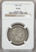 Barber Half Dollars: , 1909 50C VF20 NGC. NGC Census: (8/328). PCGS Population (31/515).Mintage: 2,368,650. Numismedia Wsl. Price for problem fre...
