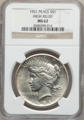 Peace Dollars: , 1921 $1 MS62 NGC. Ex: High Relief. NGC Census: (1781/7315). PCGSPopulation (1893/8529). Mintage: 1,006,473. Numismedia Wsl...