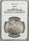 Morgan Dollars: , 1882-CC $1 MS62 NGC. NGC Census: (1357/12122). PCGS Population(2300/24195). Mintage: 1,133,000. Numismedia Wsl. Price for ...