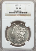 Morgan Dollars: , 1883-S $1 AU55 NGC. NGC Census: (706/2306). PCGS Population(663/3041). Mintage: 6,250,000. Numismedia Wsl. Price for probl...