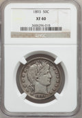 Barber Half Dollars: , 1893 50C XF40 NGC. NGC Census: (5/221). PCGS Population (13/289).Mintage: 1,826,792. Numismedia Wsl. Price for problem fre...
