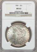Morgan Dollars: , 1881 $1 MS63 NGC. NGC Census: (3176/4571). PCGS Population(4208/4952). Mintage: 9,163,975. Numismedia Wsl. Price for probl...