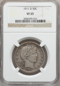 Barber Half Dollars: , 1911-D 50C VF25 NGC. NGC Census: (3/108). PCGS Population (9/211).Mintage: 695,080. Numismedia Wsl. Price for problem free...