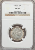 Barber Quarters: , 1900-S 25C AU55 NGC. NGC Census: (17/61). PCGS Population (42/100).Mintage: 1,858,585. Numismedia Wsl. Price for problem f...