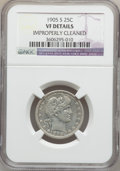 Barber Quarters: , 1905-S 25C -- Improperly Cleaned -- NGC Details. VF. NGC Census:(1/74). PCGS Population (3/112). Mintage: 1,884,000. Numis...