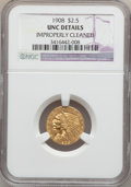 Indian Quarter Eagles: , 1908 $2 1/2 -- Improperly Cleaned -- NGC Details. UNC. NGC Census:(69/7508). PCGS Population (68/4909). Mintage: 564,800. ...