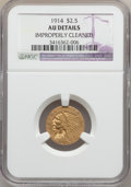 Indian Quarter Eagles: , 1914 $2 1/2 -- Improperly Cleaned -- NGC Details. AU. NGC Census:(20/7354). PCGS Population (97/3430). Mintage: 240,000. N...
