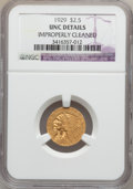 Indian Quarter Eagles: , 1929 $2 1/2 -- Improperly Cleaned -- NGC Details. UNC. NGC Census:(215/18136). PCGS Population (411/11141). Mintage: 532,0...