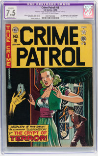 Crime Patrol #16 (EC, 1950) CGC Apparent VF- 7.5 Moderate (P) Off-white to white pages