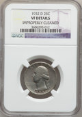 Washington Quarters: , 1932-D 25C -- Improperly Cleaned -- NGC Details. VF. NGC Census:(59/2334). PCGS Population (99/3922). Mintage: 436,800. Nu...