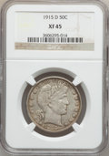 Barber Half Dollars: , 1915-D 50C XF45 NGC. NGC Census: (14/462). PCGS Population(42/607). Mintage: 1,170,400. Numismedia Wsl. Price for problem ...