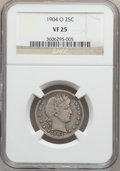 Barber Quarters: , 1904-O 25C VF25 NGC. NGC Census: (2/95). PCGS Population (9/128).Mintage: 2,456,000. Numismedia Wsl. Price for problem fre...