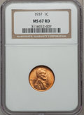 Lincoln Cents: , 1937 1C MS67 Red NGC. NGC Census: (1088/0). PCGS Population(403/1). Mintage: 309,179,328. Numismedia Wsl. Price for proble...