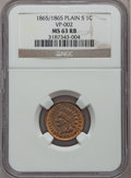 Indian Cents, 1865 1C Plain 5 MS63 Red and Brown NGC. VP-002. NGC Census: (1/8).PCGS Population (30/92). ...