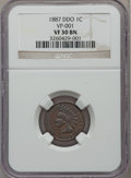 Indian Cents, 1887 1C Double Die Obverse VF30 NGC. VP-001. NGC Census: (2/216).PCGS Population (4/167). Mintage: 45,226,484. Numismedia...