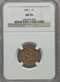 Indian Cents: , 1861 1C AU55 NGC. NGC Census: (37/768). PCGS Population (62/1067).Mintage: 10,100,000. Numismedia Wsl. Price for problem f...