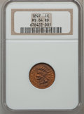 Indian Cents: , 1897 1C MS64 Red NGC. NGC Census: (65/38). PCGS Population(133/69). Mintage: 50,466,328. Numismedia Wsl. Price for problem...
