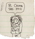 Original Comic Art:Miscellaneous, Robert Crumb Doodle Sketch Original Art (c. 1970s)....
