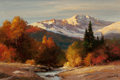 Fine Art - Painting, American:Contemporary   (1950 to present)  , ROBERT WILLIAM WOOD (American, 1889-1979). Sunrise in the HighSierra, 1971. Oil on canvas. 24 x 36 inches (61.0 x 91.4 ...