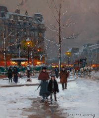 EDOUARD-LÉON CORTÈS (French, 1882-1969) Winter Parisienne Street Scene in Winter Oil on canvas 18