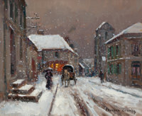 EDOUARD-LÉON CORTÈS (French, 1882-1969) A Snowy Rural Street Scene Oil on canvas 20 x 24 inches (