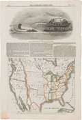 Miscellaneous:Maps, [Map]. The Illustrated London News. Map of North America,Showing the Relative Positions of Texas and Oregon with theUn...