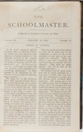 Books:Americana & American History, [Education Magazine]. The Schoolmaster. Schoolmaster,1870-1872. All issues bound into one octavo volume. Contem...