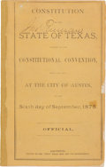 Miscellaneous:Booklets, Constitution of the State of Texas, Adopted by theConstitutional Convention, Begun and Held at the City of Austin, onthe S...