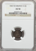 Seated Half Dimes: , 1840 H10C No Drapery AU58 NGC. NGC Census: (23/210). PCGSPopulation (32/165). Mintage: 1,000,000. Numismedia Wsl. Pricefo...