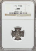 Seated Half Dimes: , 1843 H10C AU55 NGC. NGC Census: (13/176). PCGS Population (21/141).Mintage: 1,165,000. Numismedia Wsl. Price for problem f...