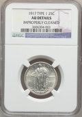 Standing Liberty Quarters: , 1917 25C Type One -- Improperly Cleaned -- NGC Details. AU. NGCCensus: (43/1418). PCGS Population (61/2104). Mintage: 8,74...