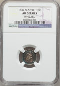 Seated Half Dimes: , 1837 H10C No Stars, Large Date (Curl Top 1) -- Whizzed -- NGCDetails. AU. NGC Census: (21/911). PCGS Population (39/631). ...