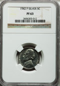 Proof Jefferson Nickels: , 1942-P 5C Type Two PR63 NGC. NGC Census: (78/2458). PCGS Population(159/4502). Mintage: 27,600. Numismedia Wsl. Price for ...