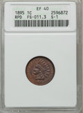 Indian Cents: , 1895 1C XF40 ANACS. S-1. RPD FS-011.3. NGC Census: (0/224). PCGSPopulation (3/169). Mintage: 38,343,636. Numismedia Wsl. ...