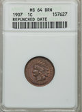 Indian Cents, 1907 1C Repunched Date MS64 Brown ANACS. NGC Census: (129/52). PCGSPopulation (97/9). Mintage: 108,138,616. Numismedia Wsl...
