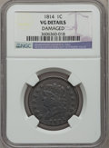 Large Cents: , 1814 1C Crosslet 4 -- Damaged -- NGC Details. VG. NGC Census:(7/219). PCGS Population (8/261). Mintage: 357,830. Numismedi...