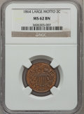 Two Cent Pieces: , 1864 2C Large Motto MS62 Brown NGC. NGC Census: (199/1084). PCGSPopulation (119/648). Mintage: 19,847,500. Numismedia Wsl....
