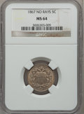 Shield Nickels: , 1867 5C No Rays MS64 NGC. NGC Census: (251/136). PCGS Population(220/78). Mintage: 28,800,000. Numismedia Wsl. Price for p...