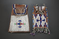 American Indian Art:Beadwork and Quillwork, TWO SIOUX BEADED HIDE STRIKE-A-LIGHT BAGS. c 1890... (Total: 2Items)