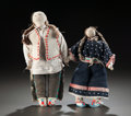 American Indian Art:Beadwork and Quillwork, A PAIR OF SIOUX BEADED HIDE DOLLS. c. 1910... (Total: 2 Items)
