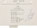 Explorers:Space Exploration, Apollo 11 Lunar Module Flown LM Activation Checklist Pagewith Handwritten Notations by Neil Armstrong, Originally...