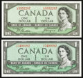 Canadian Currency: , BC-29b $1 Devil's Face 1954. BC-37a $1 Modified Portrait 1954.. ... (Total: 2 notes)