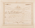 Autographs:Statesmen, [Confederate Texas]. Pendleton Murrah Confederate Bond Signed...