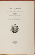 Books:Literature 1900-up, D. H. Lawrence. Last Poems. Orioli, 1932. First edition, oneof 750 numbered copies. Original paper-covered boards. ...