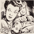 Pulp, Pulp-like, Digests, and Paperback Art, EDD CARTIER (American, b. 1914). The Case of the WaywardHusband, interior pulp illustration, 1949. Conte crayon andink...