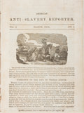 Books:Americana & American History, [Anti-Slavery]. American Anti-Slavery Reporter. Vol. I, No.3. March, 1834. Gathering removed from a book. Complete....