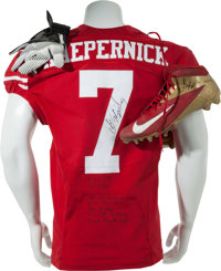 2013 Colin Kaepernick Game Worn San Francisco 49'ers Jersey, Cleats & Gloves