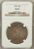 Bust Half Dollars: , 1808 50C AU53 NGC. NGC Census: (38/173). PCGS Population (42/172).Mintage: 1,368,600. Numismedia Wsl. Price for problem fr...