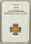 Gold Dollars: , 1864 G$1 AU58 NGC. NGC Census: (10/54). PCGS Population (7/40).Mintage: 5,950. Numismedia Wsl. Price for problem free NGC/...