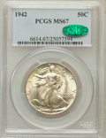 Walking Liberty Half Dollars: , 1942 50C MS67 PCGS. CAC. PCGS Population (227/4). NGC Census:(376/4). Mintage: 47,839,120. Numismedia Wsl. Price for probl...